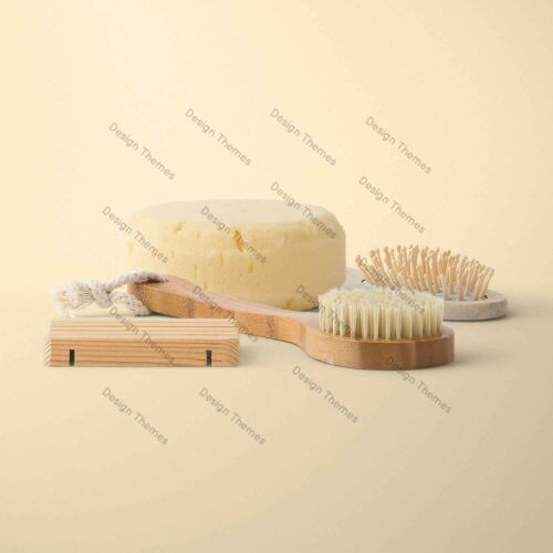 wood comb and yoga sponge